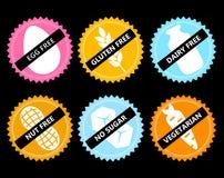 Vastgesteld Vector vrij pictogramei, gluten, zuivelfabriek, noot, geen suiker, vege stock illustratie