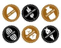 Vastgesteld Vector vrij pictogramei, gluten, zuivelfabriek, noot, geen suiker, vege royalty-vrije illustratie