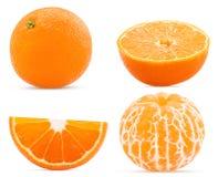 Vastgesteld vers mandarin geheel, besnoeiing in de helft, plak en gepeld royalty-vrije stock fotografie