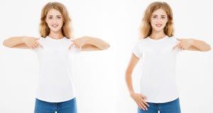 Vastgesteld vooraanzicht van leuke vrouw in witte die t-shirt op witte achtergrond, spot omhoog voor desigh wordt geïsoleerd stock fotografie
