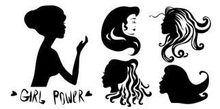 Vastgesteld Vrouwen hoofdsilhouet, gezichtsprofiel, vignet Hand getrokken vectordieillustratie, op witte achtergrond wordt geïsol royalty-vrije illustratie
