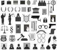 Vastgesteld wetshof verschillende pictogrammen clipart Van het de Weegschaalschild van de Themishamer van de kroonmensen de recht Royalty-vrije Stock Fotografie