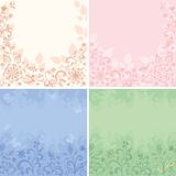 Vastgestelde abstracte bloemenachtergronden Stock Afbeeldingen