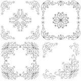 Vastgestelde abstracte bloemenachtergronden, overzicht Royalty-vrije Stock Foto