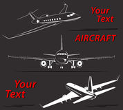 Vastgestelde abstracte de lijnen Vectorillustratie van het vliegtuigembleem Royalty-vrije Stock Afbeeldingen