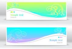 Vastgestelde abstracte de zomer mariene banners Stock Afbeeldingen