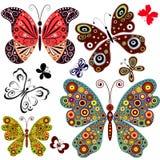 Vastgestelde abstracte vlinders Stock Afbeelding