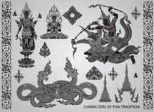 Vastgestelde actiekarakters, Thaise traditiestijl Royalty-vrije Stock Afbeeldingen
