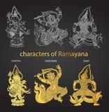 Vastgestelde actiekarakters van Ramayana, Thaise traditiestijl Stock Foto