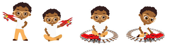 Vastgestelde Afrikaanse Amerikaanse jongen die met glazen stuk speelgoed spelen Vectordieillustratie eps 10 op witte achtergrond  Stock Fotografie