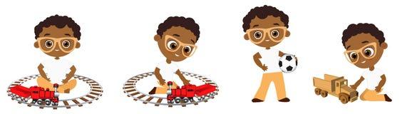 Vastgestelde Afrikaanse Amerikaanse jongen die met glazen stuk speelgoed spelen Vectordieillustratie eps 10 op witte achtergrond  Stock Afbeelding