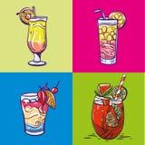 Vastgestelde alcoholische dranken, cocktails De zomervakantie en het concept van de strandpartij stock illustratie