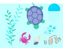 Vastgestelde aquatische grappige van overzeese shell van het beeldverhaalkarakters dieren onderwaterschepselen aquarium sealife v royalty-vrije illustratie