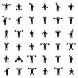 Vastgestelde atletensilhouetten, vectorillustratie Stock Fotografie