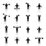 Vastgestelde atletensilhouetten, vectorillustratie Stock Afbeelding