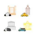 Vastgestelde auto's en gebouwen Politie en Politiebureau Taxi en trai stock illustratie