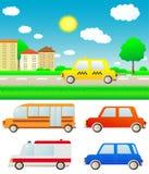 Vastgestelde auto's met aardlandschap en stad Stock Afbeeldingen