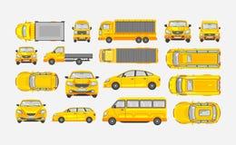 Vastgestelde auto'svijfdeursauto, leveringsvrachtwagen, lichte vrachtwagen met aanhangwagen, minibus, sedan hoogste, voor, zijaan vector illustratie