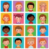 Vastgestelde avatars jongens en meisjes Royalty-vrije Stock Afbeelding