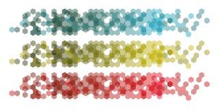 Vastgestelde Banners met hexagonale achtergrond stock illustratie