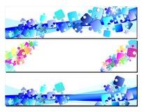 Vastgestelde banners met raadsels Stock Foto