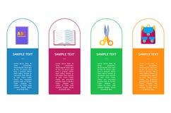 Vastgestelde Banners met Ronde Knopen die Voorwerpen bevatten Stock Afbeelding
