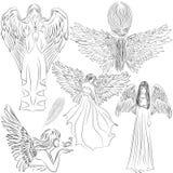Vastgestelde beelden van engelen in een beeldverhaalstijl stock illustratie