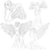 Vastgestelde beelden van engelen in een krabbelstijl vector illustratie