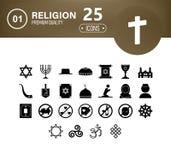 Vastgestelde beelden van godsdienstensimbol Zwart-witte pictogrammen royalty-vrije illustratie