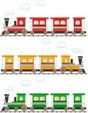 Vastgestelde beeldverhaal kleurrijke trein Stock Afbeeldingen