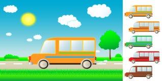 Vastgestelde beeldverhaalbus op de weg Royalty-vrije Stock Fotografie
