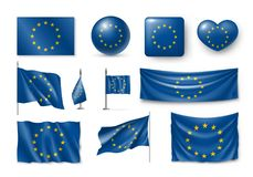 Vastgestelde Belgiumn-vlaggen, banners, banners, symbolen, realistisch pictogram Royalty-vrije Stock Foto's