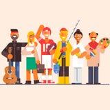 Vastgestelde beroepen artistfisherman arts, advocaat, gitarist, speler Vlakke vectorillustratie Royalty-vrije Stock Afbeelding