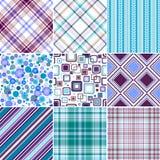 Vastgestelde blauw-lilas naadloze patronen Stock Fotografie