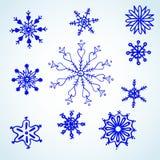 Vastgestelde blauwe sneeuwvlokkenkrabbel. Stock Afbeelding