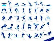 Vastgestelde blauwe sportensilhouetten Royalty-vrije Stock Foto's