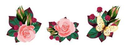 Vastgestelde boeketten van roze, bes, vlinder royalty-vrije stock afbeeldingen