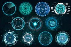 Vastgestelde cirkelelementen in een futuristische HUD-stijl royalty-vrije illustratie