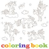 Vastgestelde contourbeelden van eenhoorns, grappige beeldverhaaldieren, zwarte contour op wit kleurend boek als achtergrond stock illustratie