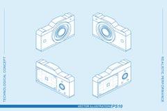 Vastgestelde 3D isometrische die de fotocamera's van de lijnkunst op de lichte achtergrond worden geïsoleerd Camera's met een len Royalty-vrije Stock Afbeelding