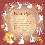 Vastgestelde Dansende silhouetten Royalty-vrije Stock Fotografie