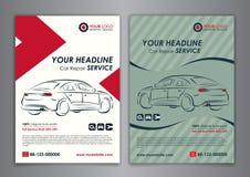 A5, A4 vastgestelde de dienst van de bedrijfs autoreparatie lay-outmalplaatjes, automobiele tijdschriftdekking Stock Foto