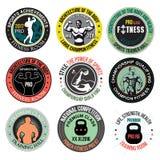 Vastgestelde de gymnastiekemblemen van Bodybuilding en van de geschiktheid, emblemen en ontwerpelementen Stock Fotografie