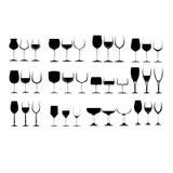 De Reeks van het Glas van de wijn stock foto's