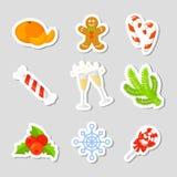 Vastgestelde de Inzamelingsvector van het Kerstmispictogram beeldverhaal Nieuwe jaar traditionele symbolen pictogrammenvoorwerpen Stock Foto