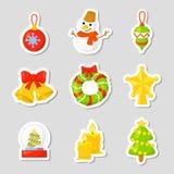 Vastgestelde de Inzamelingsvector van het Kerstmispictogram beeldverhaal Nieuwe jaar traditionele symbolen pictogrammenvoorwerpen Royalty-vrije Stock Foto
