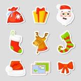 Vastgestelde de Inzamelingsvector van het Kerstmispictogram beeldverhaal Nieuwe jaar traditionele symbolen pictogrammenvoorwerpen Stock Afbeelding