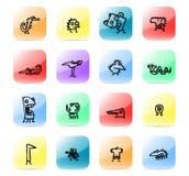 Vastgestelde de jonge geitjestekeningen van het pictogram Stock Afbeeldingen
