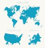 Vastgestelde de kaart vectorillustratie van Wereld Amerikaanse Europa Royalty-vrije Stock Foto's