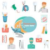 Vastgestelde de kleuren vlakke pictogrammen van de tandenzorg voor Web en mobiel ontwerp Tand de dienstpictogrammen Stock Foto